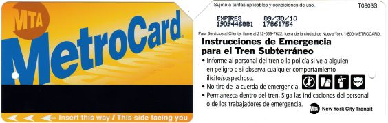 New York City Metro card in Spanish